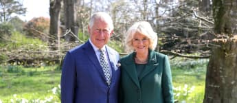 The Prince of Wales and the Duchess of Cornwall pose for a picture at the reopening of Hillsborough Castle in Belfast, Northern Ireland.
