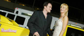 "Quentin Tarantino and Uma Thurman at the ""Kill Bill: Volume 1"" Los Angeles premiere in 2003."