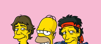 Homer Simpson with Keith Richards and Mick Jagger on The Simpsons.