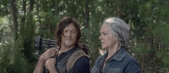 Norman Reedus and Melissa McBride in a scene from the series 'The Walking Dead'