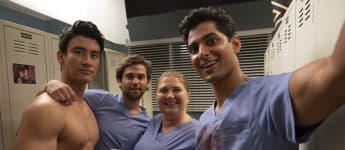 Alex Landi, Jake Borelli, Jaicy Elliot and Rushi Kota on the set of Grey's Anatomy in 2019.