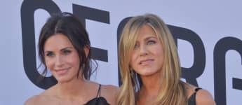Courteney Cox and Jennifer Aniston at the American Film Institute in 2018.