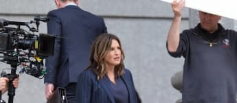 "Mariska Hargitay on the set of ""Law & Order: Special Victims Unit"", 2019."