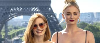 Actresses Jessica Chastain and Sophie Turner at the X-Men Dark Phoenix Photocall in Paris, France.