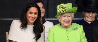 Queen Elizabeth II and Duchess Meghan during a ceremony to open the new Mersey Gateway Bridge on June 14, 2018