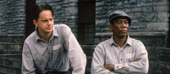 "Tim Robbins and Morgan Freeman as ""Andy Dufresne"" and ""Red"" in Shawshank Redemption."