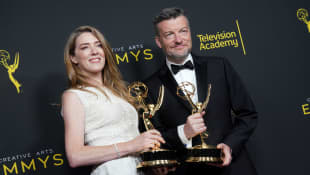 Annabell Jones and Charlie Brooker pose with the Outstanding Creative Achievement In Interactive Media Within A Scripted Program Award for 'Bandersnatch (Black Mirror)' in the press room during the 2019 Creative Arts Emmy Awards on September 15, 2019 in Los Angeles, California