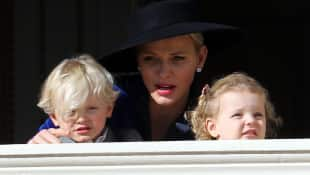 Princess Charlene of Monaco with Prince Jacques and Princess Gabriella