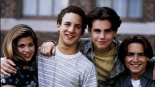 """The """"Boy Meets World"""" cast in 1995: Danielle Fishel, Ben Savage, Rider Strong and Will Friedle"""