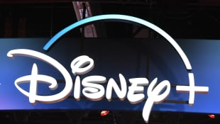 The Disney+ logo pictured at the D23 Expo in 2019. Disney+ COVID-19 postponement in India.
