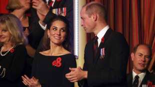 Duchess of Cambridge and Britain's Prince William, Duke of Cambridge, attend the annual Royal British Legion Festival of Remembrance at the Royal Albert Hall in London on November 9, 2019.