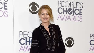 Ellen Pompeo on the red carpet at the People's Choice Awards.