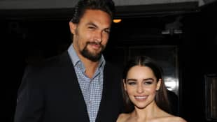 "Jason Momoa and Emilia Clarke at the Season 3 premiere of HBO's ""Game Of Thrones"" in 2013."
