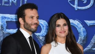 "Aaron Lohr and Idina Menzel at Disney's World Premiere of ""Frozen 2"" at the Dolby theatre in Hollywood on November 7, 2019"