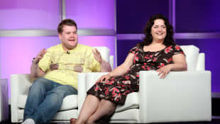 "ames Corden and Ruth Jones of ""Gavin & Stacey"" speak during the 2008 Summer Television Critics Association Press Tour for BBC on July 8, 2008 in Beverly Hills, California."