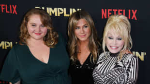 Dolly Parton, Jennifer Aniston and Danielle MacDonald