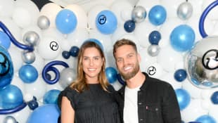 Jess Shears and Dom Lever attend the UK launch of the world's first electronic stroller, ePRIAM by Cybex on June 18, 2019 in London, England