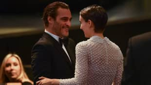 Joaquin Phoenix and Rooney Mara attend the Cannes Film Festival in 2017.