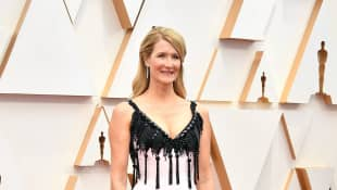 Laura Dern arrives at the red carpet for the 2020 Academy Awards on February 9, 2020.