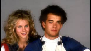 Lori Singer and Tom Hanks in 'The Man With One Red Shoe'