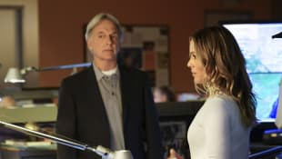 "Mark Harmon and Maria Bello as ""Gibbs"" and ""Sloane"" in the NCIS episde ""Fake It 'Til You Make It""."