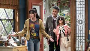 Pauley Perrete, Jaime Camil and Natasha Leggero in the new CBS sitcom Broke.