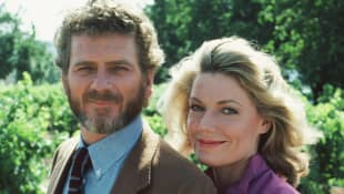 "Robert Foxworth as ""Chase Gioberti"" and Susan Sullivan ""Maggie Gioberti-Channing"" in Falcon Crest."