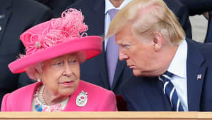 Royal family awkward funny pictures moments Queen Elizabeth II and Donald Trump in 2019.