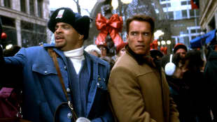 "Sinbad and Arnold Schwarzenegger in the 1996 film, ""Jingle All the Way"""