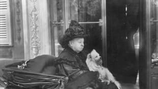 The First Royal Family Member Caught On Film: See Queen Victoria In 1896 with dog Turi.