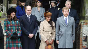 Duchess Kate, Prince William, Duchess Meghan and Prince Harry in Sandringham Christmas 2017
