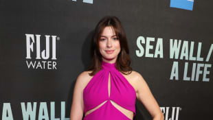 Anne Hathaway attends FIJI Water At Sea Wall / A Life Opening Night On Broadway on August 08, 2019 in New York City.