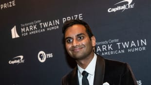 Aziz Ansari arrives at the Kennedy Center for the Mark Twain Award for American Humour on October 27, 2019 in Washington, DC.