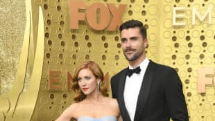 Brittany Snow and Tyler Stanaland attend the 71st Emmy Awards on September 22, 2019 in Los Angeles, California
