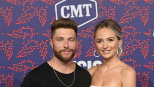 Chris Lane and Lauren Bushnell attend the 2019 CMT Music Awards on June 05, 2019 in Nashville, Tennessee.