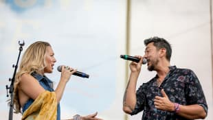 Colbie Caillat and Justin Kawika Young of Gone West perform on stage for day 4 of the 2019 CMA Music Festival on June 09, 2019