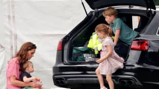 Duchess Catherine, Prince Louis, Princess Charlotte and Prince George attending a polo match on July 10th, 2019