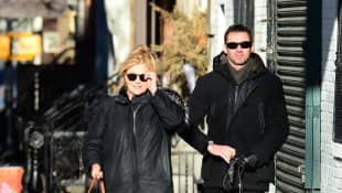 Hugh Jackman and Wife Deborra-Lee Furness are seen walking there Dogs in Soho on April 26, 2015 in New York City.
