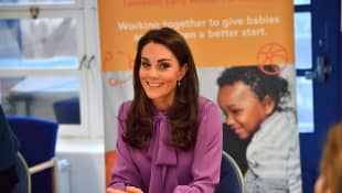 Duchess Catherine in Purple Gucci Blouse