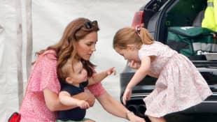 Duchess Catherine, Prince Louis and Princess Charlotte attending a polo match on July 10th, 2019