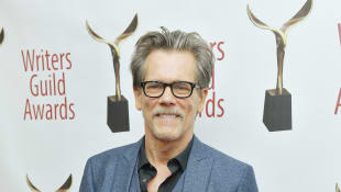 Kevin Bacon poses backstage at the 72nd Writers Guild Awards at Edison Ballroom on February 01, 2020