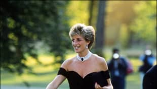"Princess Diana in 1994, wearing what today is called ""Revenge Dress"", at the Serpentine Gallery in London."