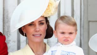 Duchess of Cambridge and Prince Louis of Cambridge during Trooping The Colour, the Queen's annual birthday parade, on June 8, 2019 in London, England