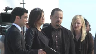 Danny Pino, Mariska Hargitay, Ice-T and Kelli Giddish on set for 'Law & Order: SVU'