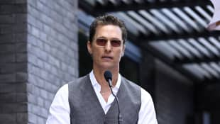 Matthew McConaughey speaks on stage at the star ceremony for Chef Guy Fieri in Hollywood, California.