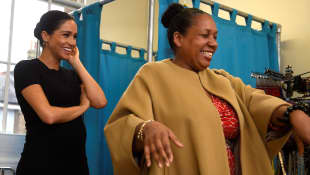 Meghan helps Patsy Wardally pick out an interview outfit during her visit to Smart Works