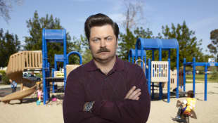 "Nick Offerman as ""Ron Swanson"""