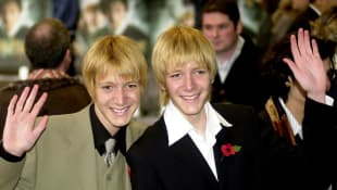 Oliver and James Phelps at the 2002 UK premiere of Harry Potter and the Chamber of Secrets.