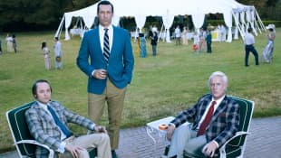 "Vincent Kartheiser as ""Pete Campbell"", Jon Hamm as ""Don Draper"" and John Slattery as ""Roger Sterling"""