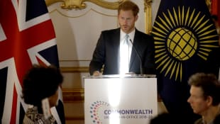 Prince Harry gives a speech as Commonwealth Youth Ambassador before taking part in a roundtable discussion at Lancaster House